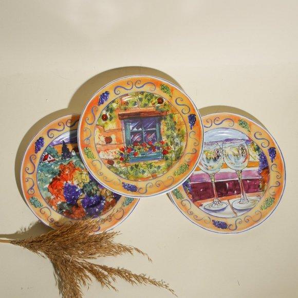 Vintage set of three deserts plates